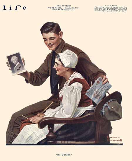 Norman Rockwell Life Magazine My Mother 1918-12-19 Copyright | Life Magazine Graphic Art Covers 1891-1936