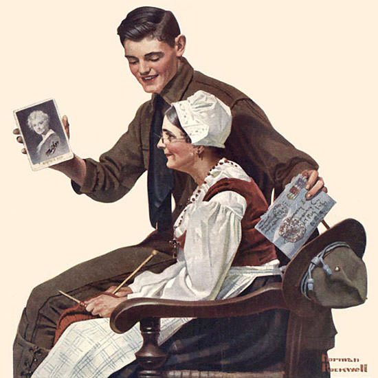 Norman Rockwell Life Magazine My Mother 1918-12-19 Copyright crop | Best of Vintage Cover Art 1900-1970