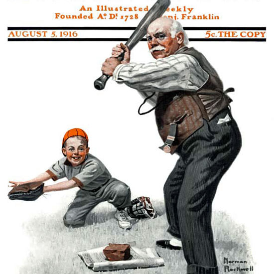 Norman Rockwell Saturday Evening Post 1916_08_05 Copyright crop | Best of Vintage Cover Art 1900-1970