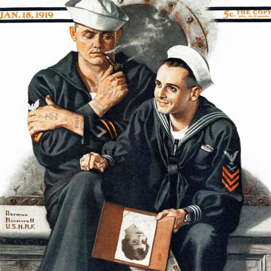 Norman Rockwell Saturday Evening Post 1919_01_18 Copyright crop | Best of Vintage Cover Art 1900-1970