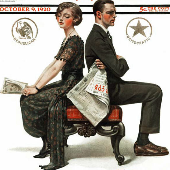 Norman Rockwell Saturday Evening Post 1920_10_09 Copyright crop | Best of Vintage Cover Art 1900-1970