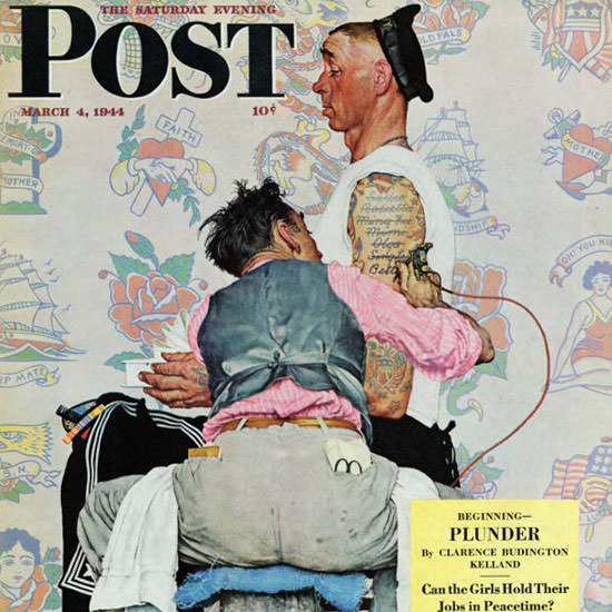 Norman Rockwell Saturday Evening Post 1944_03_04 Copyright crop | Best of Vintage Cover Art 1900-1970