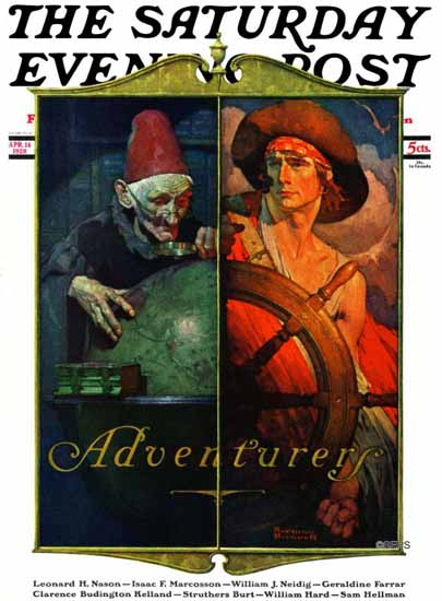 Norman Rockwell Saturday Evening Post Adventurers 1928_04_14 | 400 Norman Rockwell Magazine Covers 1913-1963