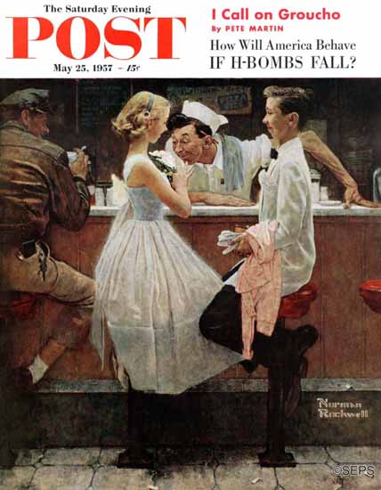 Norman Rockwell Saturday Evening Post After the Prom 1957_05_25 | The Saturday Evening Post Graphic Art Covers 1931-1969