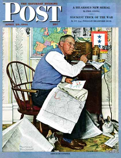 Norman Rockwell Saturday Evening Post Armchair General 1944_04_29 | 400 Norman Rockwell Magazine Covers 1913-1963