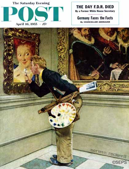 Norman Rockwell Saturday Evening Post Art Critic 1955_04_16 | 400 Norman Rockwell Magazine Covers 1913-1963