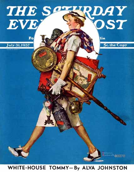 Norman Rockwell Saturday Evening Post At the Auction 1937_07_31 | The Saturday Evening Post Graphic Art Covers 1931-1969