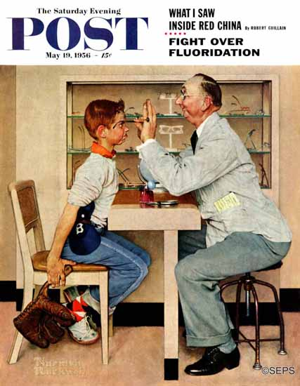 Norman Rockwell Saturday Evening Post At the Optometrist 1956_05_19 | The Saturday Evening Post Graphic Art Covers 1931-1969