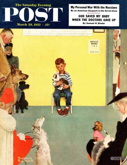 Norman Rockwell Saturday Evening Post At the Vet 1952_03_29 | The Saturday Evening Post Graphic Art Covers 1931-1969