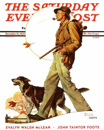 Norman Rockwell Saturday Evening Post Autumn Stroll 1935_11_16 | The Saturday Evening Post Graphic Art Covers 1931-1969