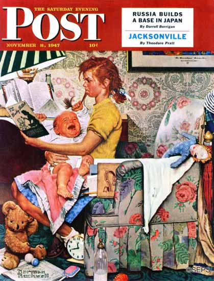 Norman Rockwell Saturday Evening Post Baby Sitter 1947_11_08 | The Saturday Evening Post Graphic Art Covers 1931-1969