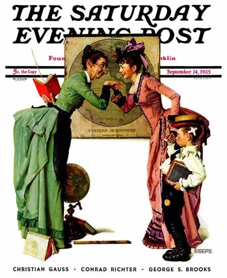 Norman Rockwell Saturday Evening Post Back to School 1935_09_14 | The Saturday Evening Post Graphic Art Covers 1931-1969