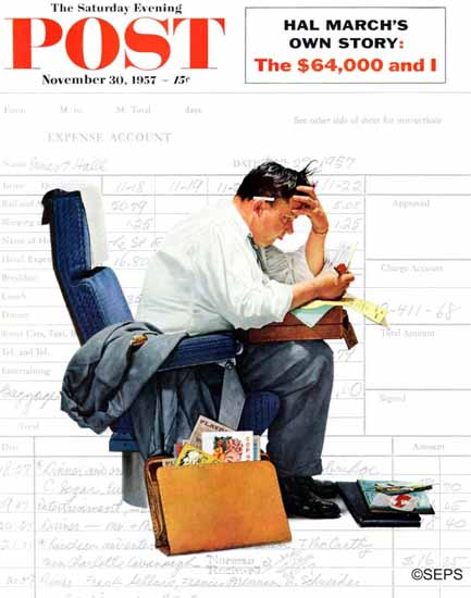 Norman Rockwell Saturday Evening Post Balancing Expenses 1957_11_30 | 400 Norman Rockwell Magazine Covers 1913-1963