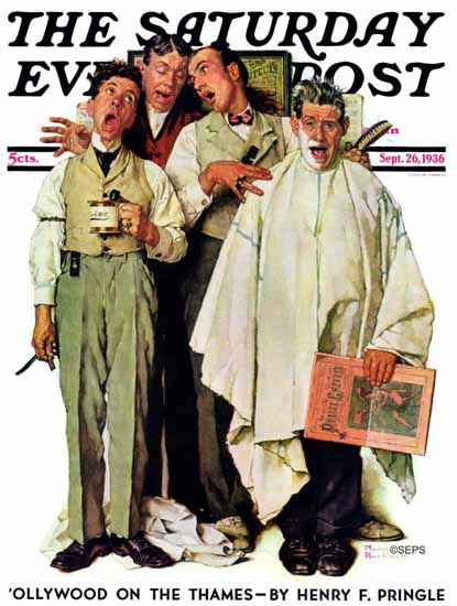 Norman Rockwell Saturday Evening Post Barbershop Quartet 1936_09_26 | The Saturday Evening Post Graphic Art Covers 1931-1969