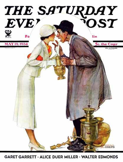 Norman Rockwell Saturday Evening Post Bargaining 1934_05_19 | The Saturday Evening Post Graphic Art Covers 1931-1969