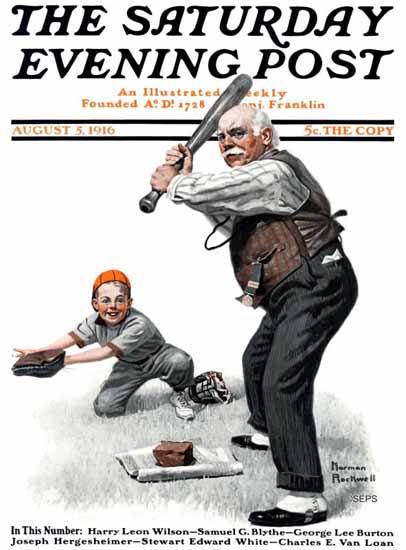 Norman Rockwell Saturday Evening Post Baseball Grandpa 1916_08_05   400 Norman Rockwell Magazine Covers 1913-1963
