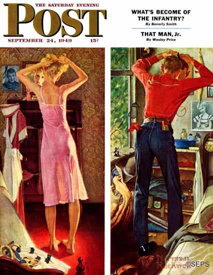 Norman Rockwell Saturday Evening Post Before the Date 1949_09_24 | The Saturday Evening Post Graphic Art Covers 1931-1969