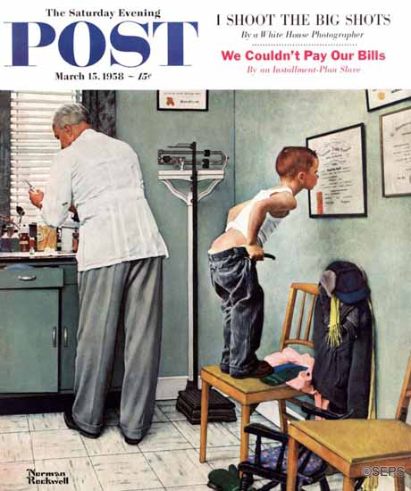 Norman Rockwell Saturday Evening Post Before the Shot 1958_03_15 | The Saturday Evening Post Graphic Art Covers 1931-1969
