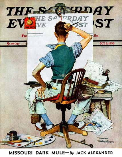 Norman Rockwell Saturday Evening Post Blank Canvas 1938_10_08 | 400 Norman Rockwell Magazine Covers 1913-1963