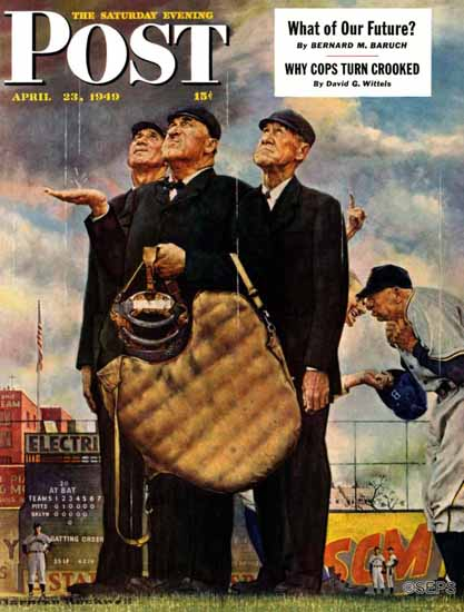 Norman Rockwell Saturday Evening Post Bottom of the Sixth 1949_04_23 | The Saturday Evening Post Graphic Art Covers 1931-1969