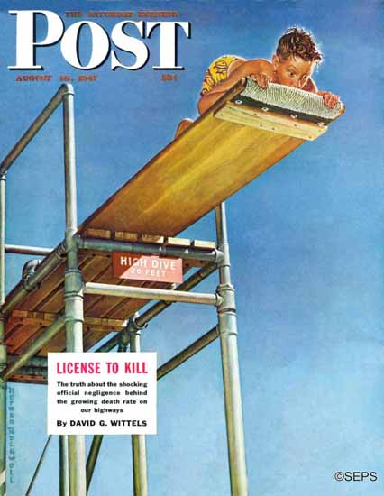 Norman Rockwell Saturday Evening Post Boy on High Dive 1947_08_16 | The Saturday Evening Post Graphic Art Covers 1931-1969