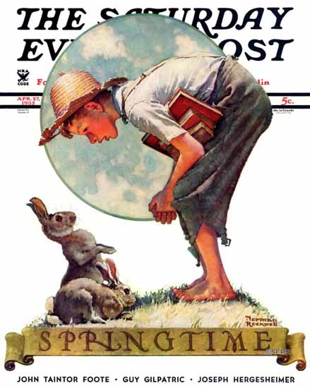 Norman Rockwell Saturday Evening Post Boy with Bunny 1935_04_27 | The Saturday Evening Post Graphic Art Covers 1931-1969
