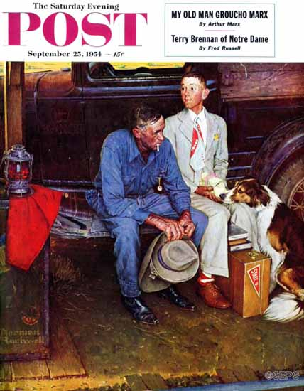 Norman Rockwell Saturday Evening Post Breaking Home Ties 1954_09_25 | The Saturday Evening Post Graphic Art Covers 1931-1969
