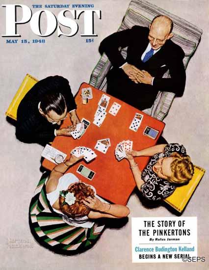Norman Rockwell Saturday Evening Post Bridge Game 1948_05_15 | The Saturday Evening Post Graphic Art Covers 1931-1969