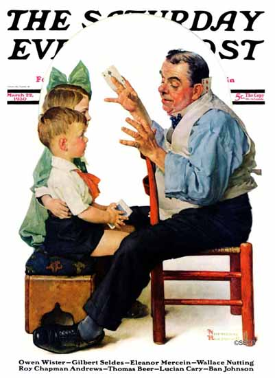 Norman Rockwell Saturday Evening Post Card Tricks 1930_03_22 | 400 Norman Rockwell Magazine Covers 1913-1963