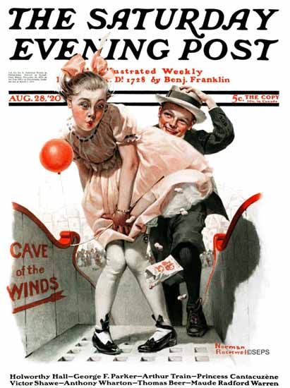 Norman Rockwell Saturday Evening Post Cave of the Winds 1920_08_28 | 400 Norman Rockwell Magazine Covers 1913-1963