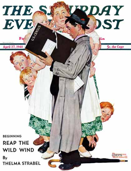 Norman Rockwell Saturday Evening Post Census-Taker 1940_04_27 | The Saturday Evening Post Graphic Art Covers 1931-1969
