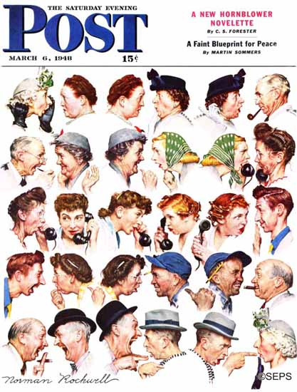 Norman Rockwell Saturday Evening Post Chain of Gossip 1948_03_06 | The Saturday Evening Post Graphic Art Covers 1931-1969