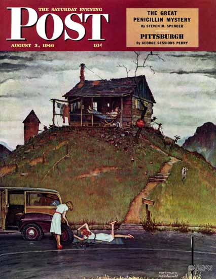 Norman Rockwell Saturday Evening Post Changing a Flat 1946_08_03 | The Saturday Evening Post Graphic Art Covers 1931-1969