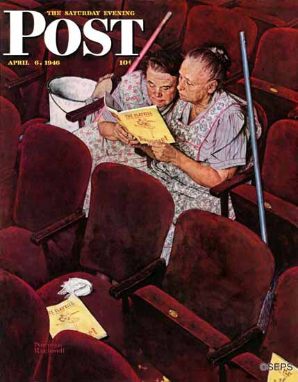 Norman Rockwell Saturday Evening Post Charwomen 1946_04_06 | The Saturday Evening Post Graphic Art Covers 1931-1969