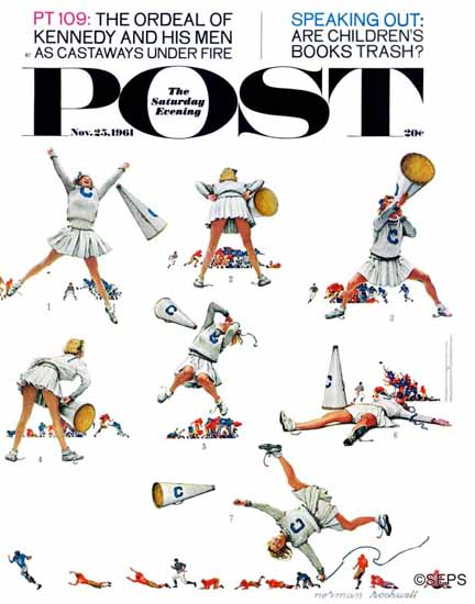 Norman Rockwell Saturday Evening Post Cheerleader 1961_11_25 | The Saturday Evening Post Graphic Art Covers 1931-1969