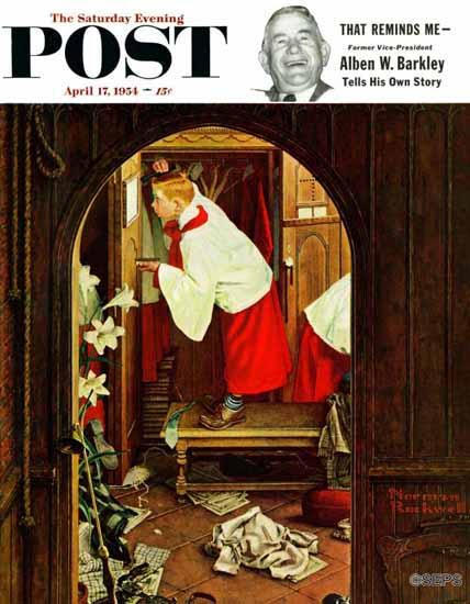 Norman Rockwell Saturday Evening Post Choirboy 1954_04_17 | 400 Norman Rockwell Magazine Covers 1913-1963