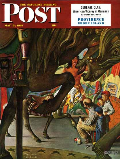 Norman Rockwell Saturday Evening Post Circus Artist 1947_05_03 | The Saturday Evening Post Graphic Art Covers 1931-1969