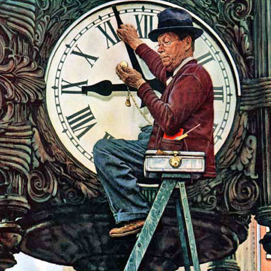 Norman Rockwell Saturday Evening Post Clock 1945_11_03 Copyright crop | Best of Vintage Cover Art 1900-1970