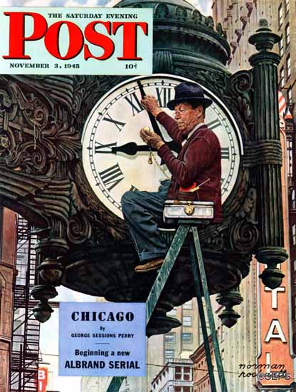 Norman Rockwell Saturday Evening Post Clock Repairman 1945_11_03 | The Saturday Evening Post Graphic Art Covers 1931-1969