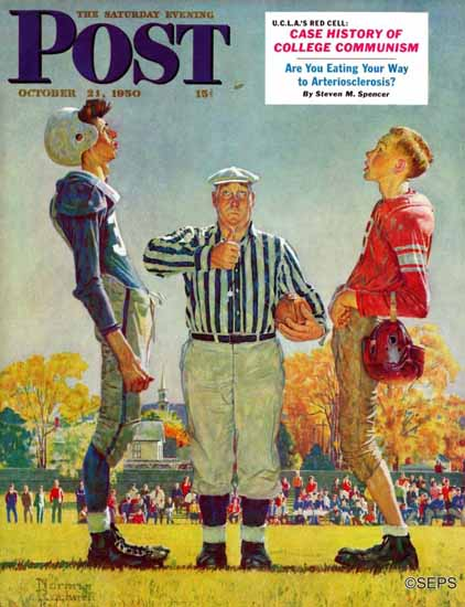 Norman Rockwell Saturday Evening Post Coin Toss 1950_10_21 | 400 Norman Rockwell Magazine Covers 1913-1963