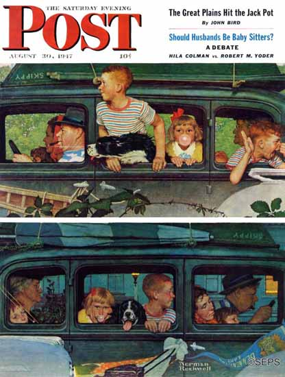 Norman Rockwell Saturday Evening Post Coming and Going 1947_08_30 | The Saturday Evening Post Graphic Art Covers 1931-1969