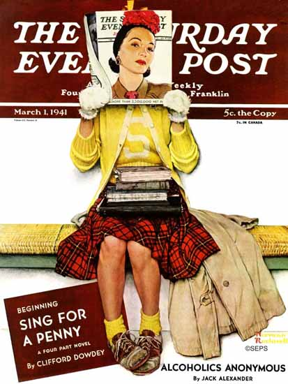 Norman Rockwell Saturday Evening Post Cover Girl 1941_03_01 | 400 Norman Rockwell Magazine Covers 1913-1963