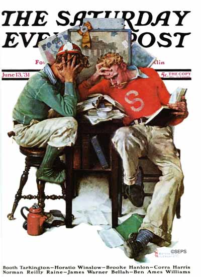 Norman Rockwell Saturday Evening Post Cramming 1931_06_13 | The Saturday Evening Post Graphic Art Covers 1931-1969