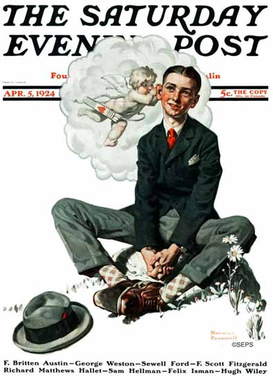 Norman Rockwell Saturday Evening Post Cupids Suggest 1924_04_05 | 400 Norman Rockwell Magazine Covers 1913-1963