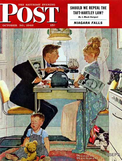 Norman Rockwell Saturday Evening Post Dewey vs Truman 1948_10_30 | 400 Norman Rockwell Magazine Covers 1913-1963