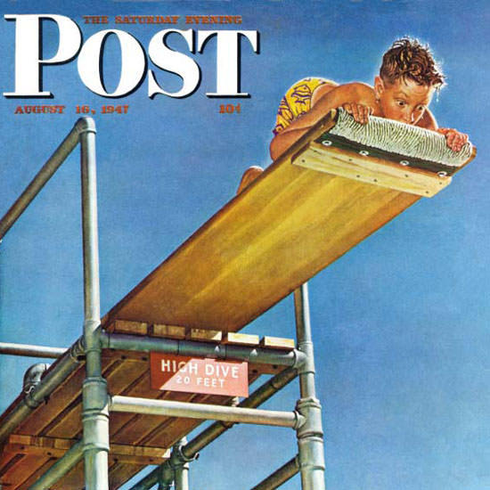 Norman Rockwell Saturday Evening Post Dive 1947_08_16 Copyright crop | Best of Vintage Cover Art 1900-1970