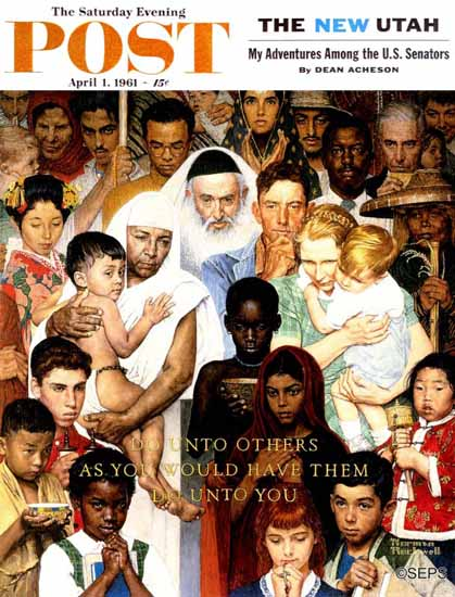 Norman Rockwell Saturday Evening Post Do Unto Others 1961_04_01 | The Saturday Evening Post Graphic Art Covers 1931-1969