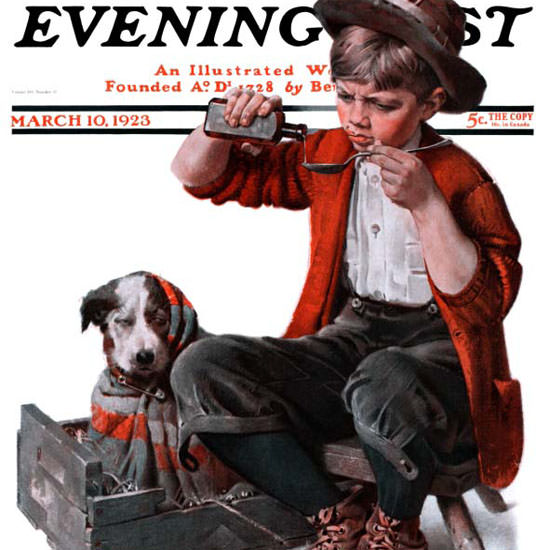 Norman Rockwell Saturday Evening Post Dog 1923_03_10 Copyright crop | Best of Vintage Cover Art 1900-1970