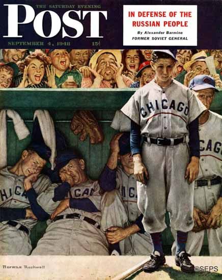 Norman Rockwell Saturday Evening Post Dugout 1948_09_04 | 400 Norman Rockwell Magazine Covers 1913-1963
