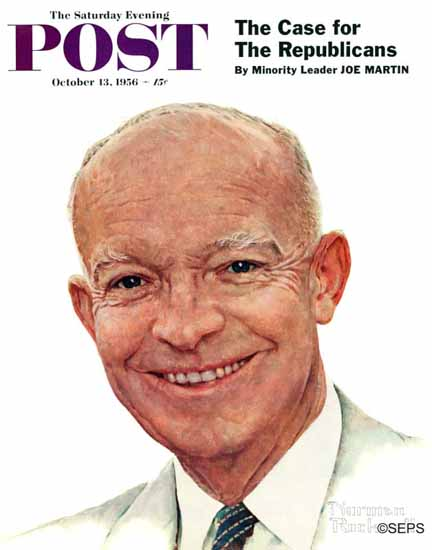 Norman Rockwell Saturday Evening Post Dwight Eisenhower 1956_10_13 | The Saturday Evening Post Graphic Art Covers 1931-1969
